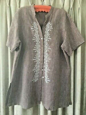 AU5 • Buy Size 20, The Clothing Company, Brown And White Striped Linen Shirt