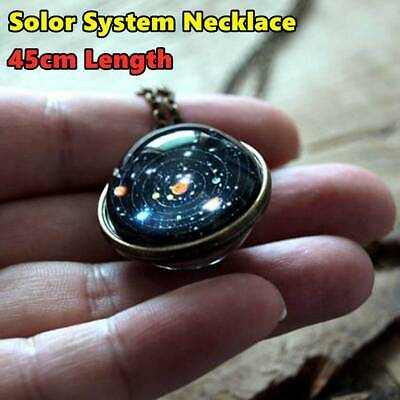 Unique Solar System Necklace Double Sided Planet Pendant Long Chain Jewelry UK • 2.88£
