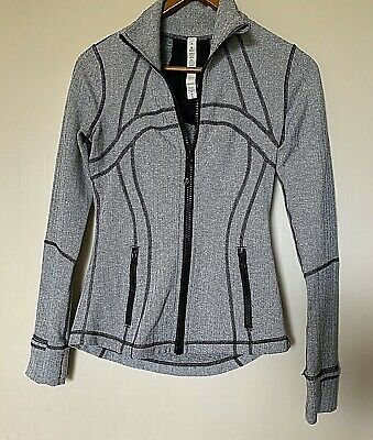 AU55 • Buy Lululemon Front Zip Grey/black Fitted Jacket With Thumb Holes 4 (Aus 6-10)