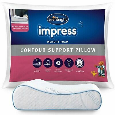 Silentnight Impress Memory Foam Contour Pillow Orthopedic Neck Back Support • 23.99£
