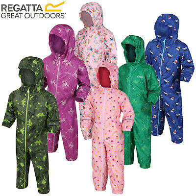 Regatta Kids Pobble All-In-One Suit Rainsuit Puddle Childrens Waterproof Hooded • 19.45£
