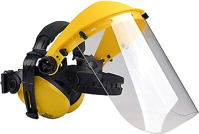 £17.16 • Buy Safety Helmet With Ear Defender And Face Mask - Forestry Chainsaw Marble Stone