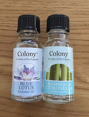 2 X COLONY REFRESHER OILS Blue Lotus & Bamboo With Citronella 15ML BOTTLES • 5.99£