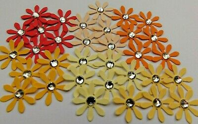90 Paper Gem Daisy Flowers Red/Orange/Yellow Card Making,Crafts,Embellishments • 1.85£