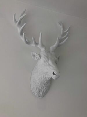 £59.95 • Buy Large White Stag Head Modern Wall Art Decor Wall Mounted Stag Head Deer Head