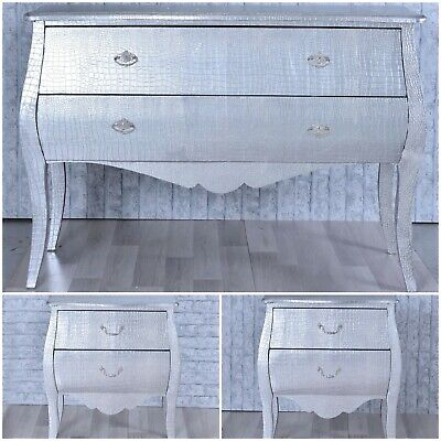 £429.95 • Buy Moc Croc Silver Large French Styled Bombe Chest Of Drawers Bedside Bedroom Set