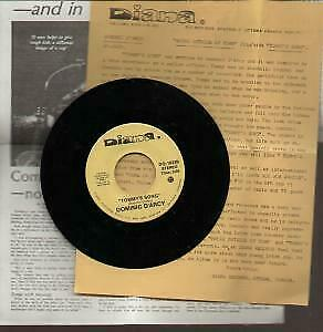DOMINIC D'ARCY Tommy's Song 7 INCH VINYL Canada Diana B/W House Outside Of Town • 4.53£