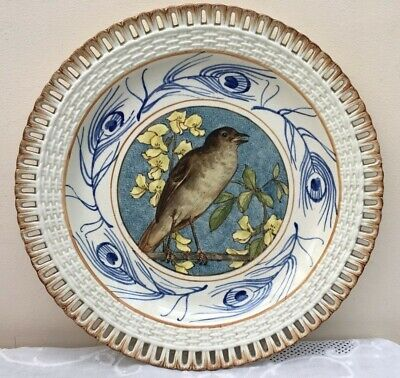 Antique 19th C. Minton Pierced Reticulated Hand Painted Bird Cabinet Plate 1878 • 95£