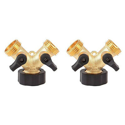 2 Way Brass Y Valve Garden Hose Connector Splitter Water Tap Faucet Adapter Tt • 7.91£