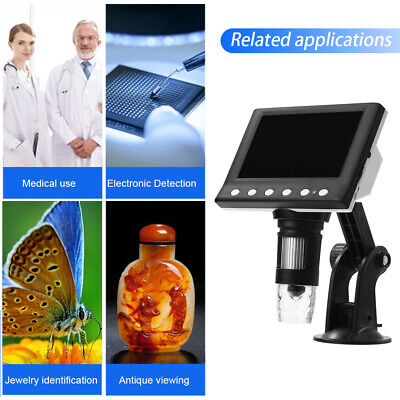 4.3  1000X LCD Monitor Electronic Digital Video Microscope 8 White LED Magnifier • 26.99£