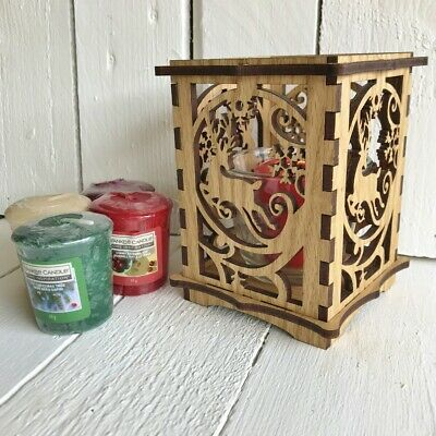 Wood Yankee Candle Scented Christmas Gift Set With Reindeer Votive Holder • 19.99£