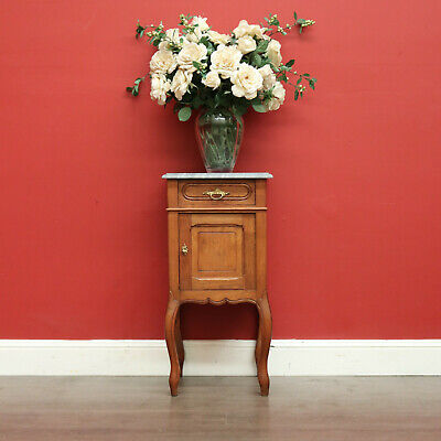 AU595 • Buy Antique Oak And Marble French Lamp Table, Side Hall Cupboard Bedside Cabinet