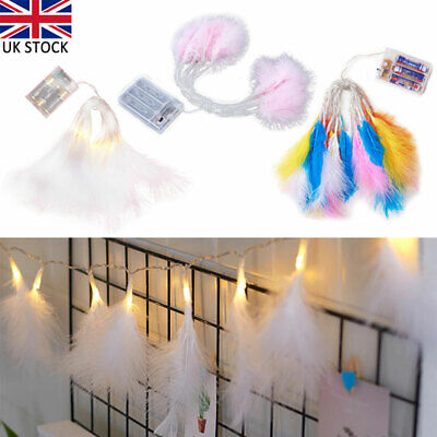 £6.84 • Buy 20 LED Fluffy Feather Fairy String Lights Battery Operated Bedroom Home Decor UK