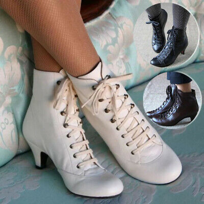 Women Kitten Ankle Boots Ladies Victorian Gothic Vintage Lace Up Party Shoes • 26.30£