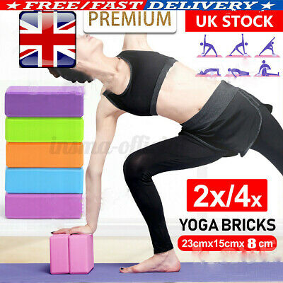 4X Yoga Pilates EVA Foam Block Gym Fitness Brick Balance Stretch Sport Exercise • 7.88£