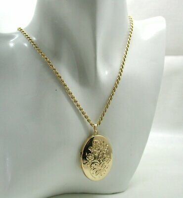 £426.80 • Buy Lovely 9 Carat Gold Engraved Locket And Chain