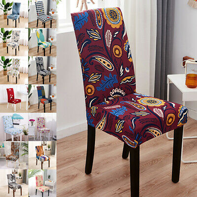 AU56.98 • Buy 1/4/6X Dining Chair Seat Covers Slip Stretch Wedding Banquet Party Removable AU