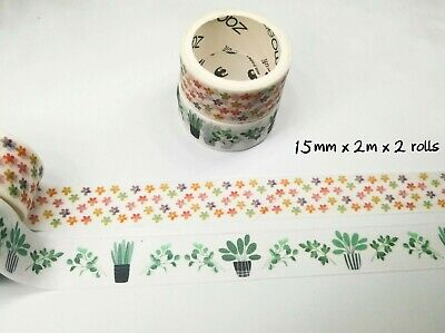 AU2.50 • Buy Japan Washi Tape  - Greens And Flowers 15mmx3mx2 Rolls MT4492