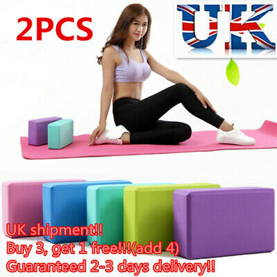 2 X Yoga Block EVA Foaming Foam Brick Pilates Exercise Gym Fitness Up Stretching • 6.78£