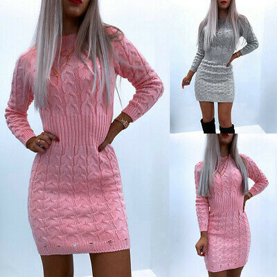 Womens Knitted Sweater Bodycon Mini Dress Ladies Long Sleeve Party Jumper Dress • 13.79£