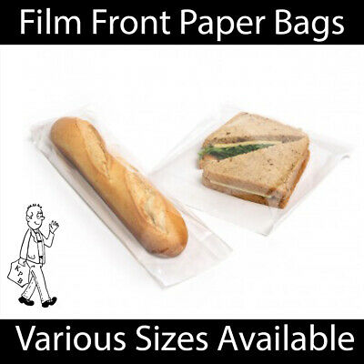 £5.99 • Buy White Clear Film Front Paper Bags Food Sandwich Pastries Cellophane Window Bag