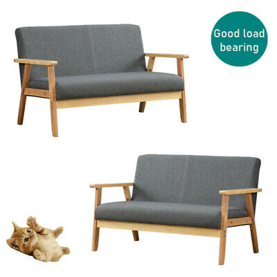 NEW 2 SEATER Grey Scandinavian Style Fabric Sofa Bed Modern Home Furniture Chair • 85.29£