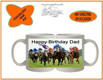 £9.99 • Buy Personalised Horse Racing Tea Coffee Mug Cup Gift Any Name Age Greeting Occas