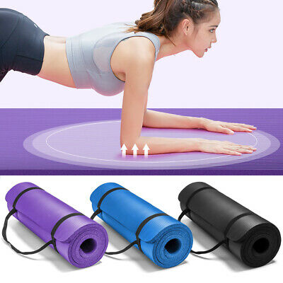AU23.95 • Buy NBR Yoga Mat 10/15/20mm Thick Pad Nonslip Exercise Fitness Pilate Gym With Strap