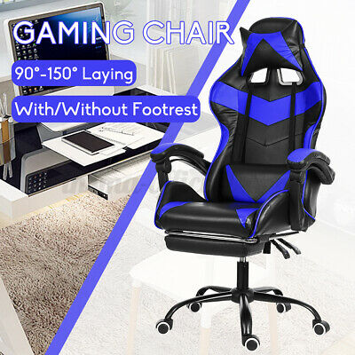 Ergonomic Office Gaming Chair Recliner PU Leather Computer Footrest Swivel Seat • 106.78£