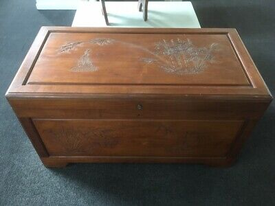 Lovely Camphor Wood Box / Trunk / Chest, Carved With Bamboo Scene • 280£