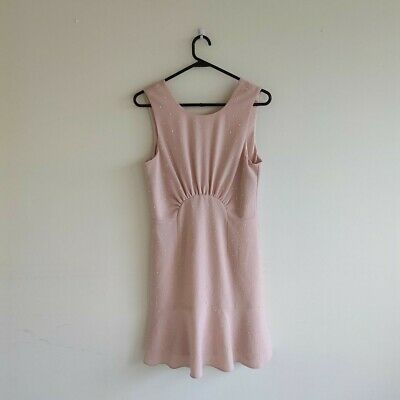 AU25 • Buy Forever New Pink Pearl Beaded Size 10 Women Sleeveless Dress Free Shipping