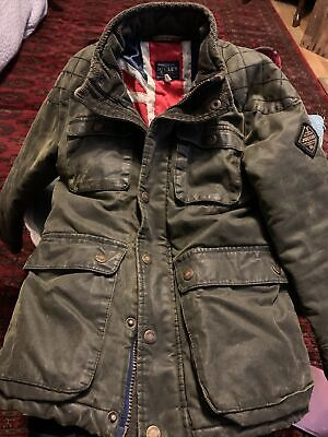 Boys Joules Padded Wax Cotton Jacket Age 7 • 15£
