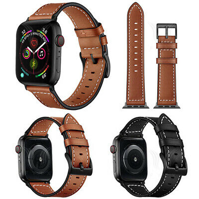 $ CDN12.57 • Buy For Apple Watch Series 1-6 44/42/40/38mm Genuine Leather Wrist Strap Watch Band
