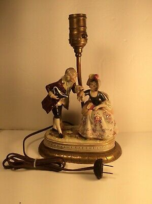 $ CDN162.13 • Buy Antique Dresden Porcelain Lamp Courting Couple Figurine Lamb Pastoral Germany