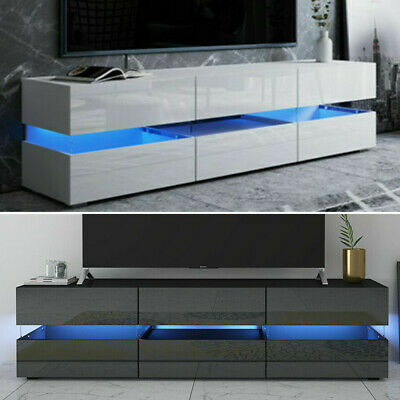 177cm TV Unit Cabinet Large Storage High Gloss Fronts Display Cupboard LED Light • 135£