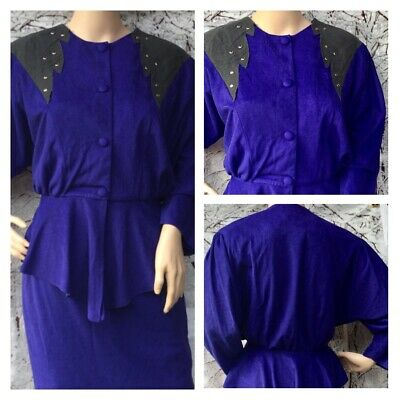 Vintage Dorothy Perkins Purple Velour Dynasty Style Power Suit New Wave S • 8.90£