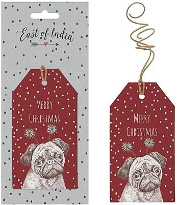 £2.95 • Buy East Of India PUG Dog Gift Tags - 'Merry Christmas'  Pack Of Six - FREE DELIVERY