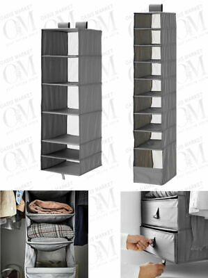 Wardrobe Storage With Compartment Grey Clothes Shoes Space Saving Organiser Unit • 13.99£