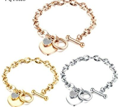 £9.99 • Buy Crystal Heart T Bar Bracelet Link Valentines Day  Christmas Comes Gift Boxed 185