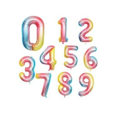 AU4.99 • Buy Rainbow 40 Inch Number Foil Balloons