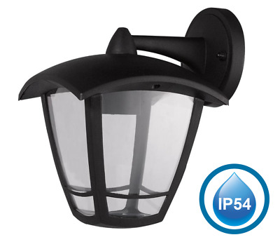 Wall Light IP54 Garden Lantern Modern Black LED Outdoor Waterproof • 18.99£