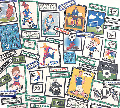 50+ FOOTBALL BIRTHDAY Sentiments+Toppers 4-9cm Card Making Scrapbooking Journal • 3.99£