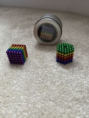 3mm 216pc Mini Magic Magnetic Silver Ball Sphere Puzzle Cube Adult Magnet • 6£
