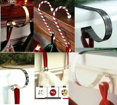 The Original Christmas Stocking Holders Scrolls Hangers Gold Silver Mantle Clips • 8.99£