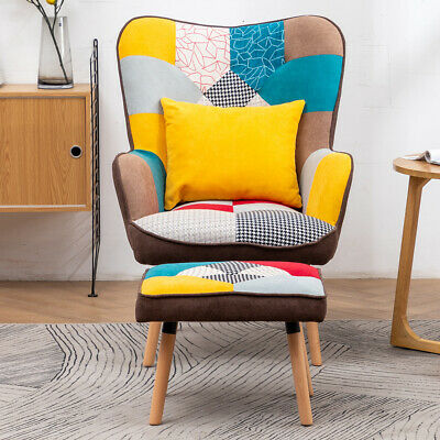 £259.95 • Buy Vintage Patchwork Fabric Leisure Armchair Wing Back Upholstered Chair Footstool