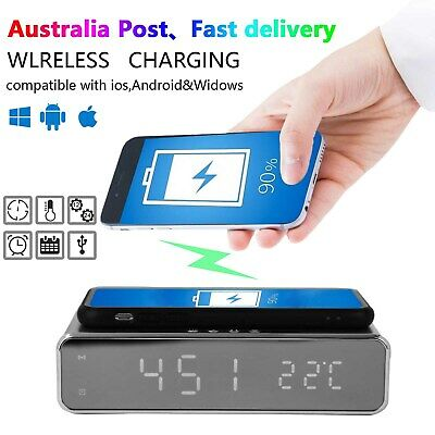 AU23.99 • Buy USB Digital LED Desk Alarm Clock With Thermometer Wireless Charger For Andriod