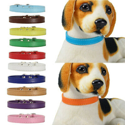 Pet Collar PU Leather Dog Puppy Collar Solid Color Soft Neck Strap Adjustable UK • 3.69£