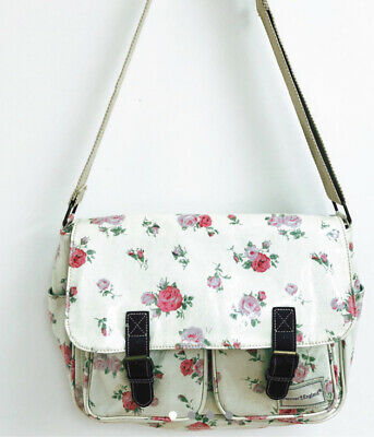 Forever England  Satchel Bag Cream Red Rose Oilcloth Print Crossbody Country Med • 5.99£