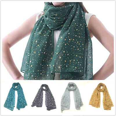 Ladies Silver Glitters Shimmer Foil Stars Women Scarf Shawl Wrap Christmas Gift • 3.99£