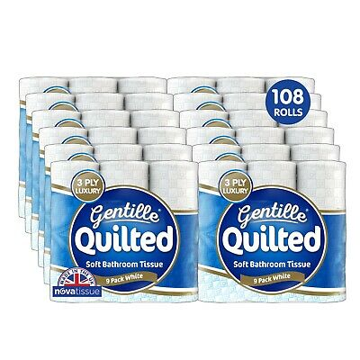108 Rolls Gentille Quilted 3 Ply Luxury Toilet Tissue, Made In The UK • 30£
